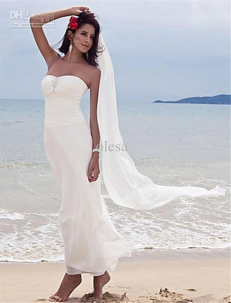 Discount 2016 cheap beach wedding dresses simple elegant for Cheap sheath wedding dresses
