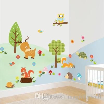 Forest Animals Wall Art Mural Decor Sticker Cartoon Monkey Owls Squirrel Flowers Tree Zoos Paradise Kids Boys Girls Room Wall Applique