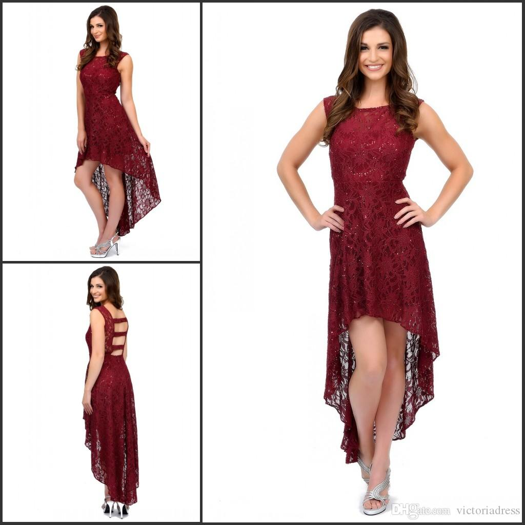 High Low Burgundy Lace Cocktail Dresses Hollow Back Scoop Neck Cap ...