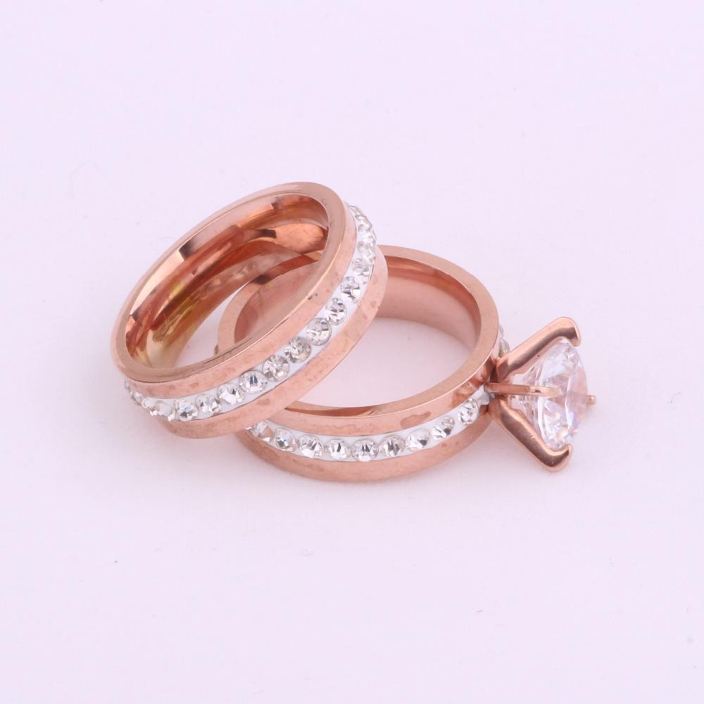 New Fashion Jewelry Stainless Steel Zircon Finger Ring Set For Women ...