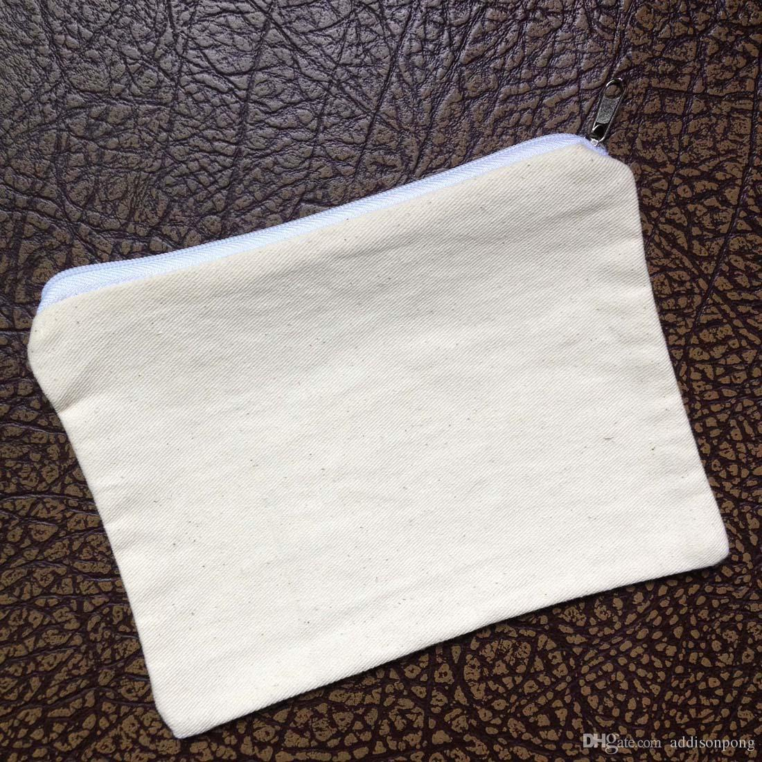 plain natural light ivory blank cotton twill zip pouch for DIY print/paint 5*7in mini cotton coin purse small cotton bag