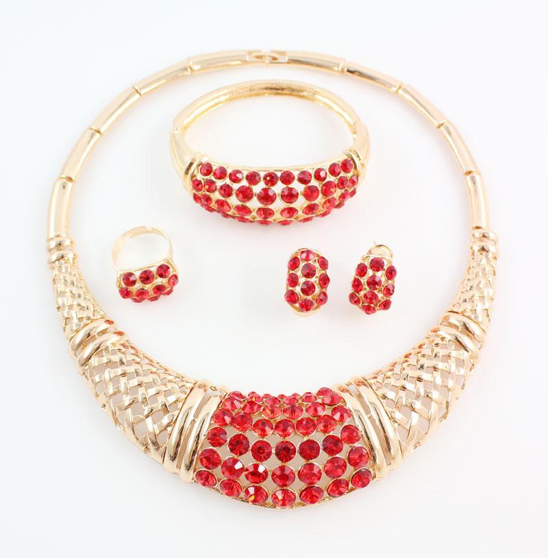 Свадьба африканские бусины комплект ювелирных изделий 18k позолоченные мода партия свадебный горный хрусталь ожерелье серьги наборы браслет кольцо аксессуары