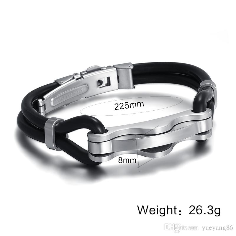 Trendy High Quality New Design Unisex 's XMAS Best Gift Black Silicone Bangle With Stainless Steel Silver Link Bracelet 8.5''