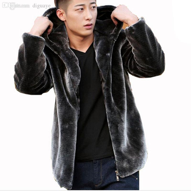 Best Fall Mens Faux Fur Coat Hood Motorcycle Hooded Leather Jacket ...