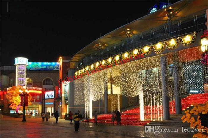 뜨거운 판매 커튼 문자열 조명 정원 램프 새해 크리스마스 고드름 LED 조명 크리스마스 웨딩 파티 장식 1000LEDs 10M * 3M