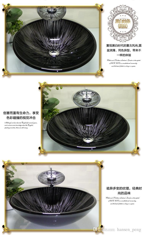 Ванная комната закаленное стекло раковина ручной работы столешница круглый бассейн умывальники гардероб шампунь сосуд чаша HX026
