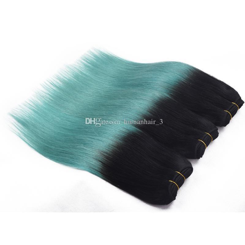 8A 학년 1B 녹색 Ombre 머리 뭉치 2 톤 검은 색 파란색 실크 직선 머리카락 Weaves 그린 머리 확장 /