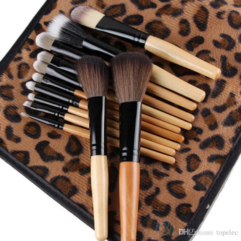 Kadın Profesyonel 12 Adet Leopar Vaka Çanta Ile Fırça Kozmetik Makyaj Aracı Set Kiti Moda Stok Hazır