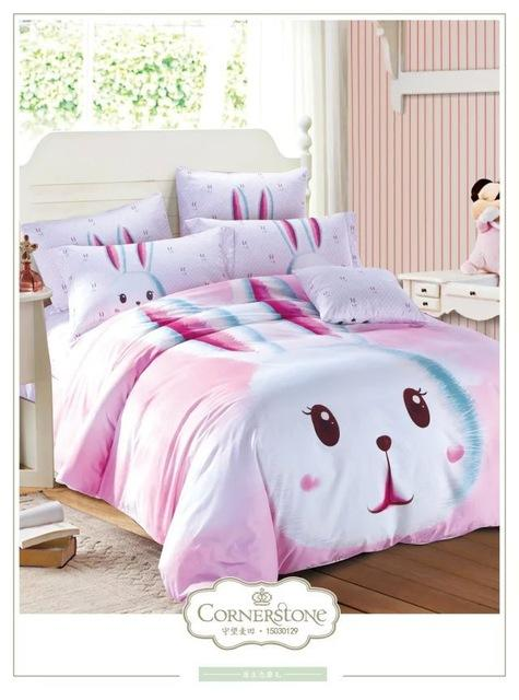 Cute Pink Rabbit Bedding Set Queen Size Cartoon Quilt Duvet Covers Kids Sheet Bed Brand Bedroom Linen 100 Cotton Children Black White Cover Blue And