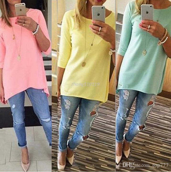 3f34422e6 Compre Moda Feminina Camisa 3 4 De Manga Longa Tops Senhoras Praia Feminina  Casual Túnicas Mulheres Camisa De Top777
