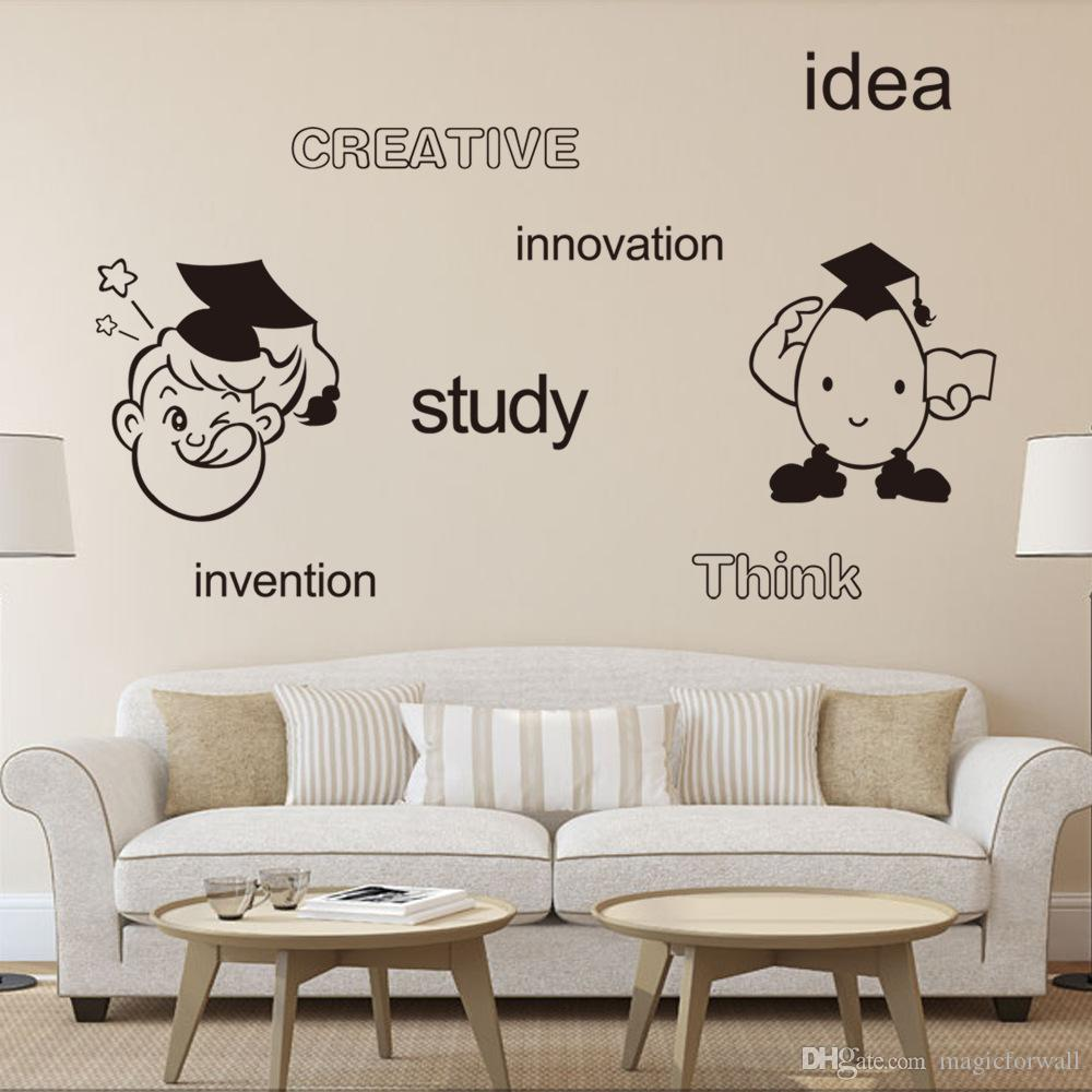 Creative Idea Study Innovation Think Invention English Words Wall Art Mural  Decor Cartoon Boys Girls Room Wall Quote Decal Sticker Wall Art Tree ...