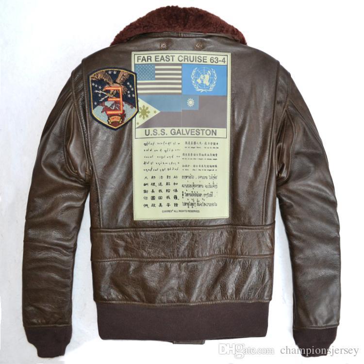 c6527e82616 Купить Оптом Скидка На Продажу AVIREX Куртка ВВС США Пилот Мужская  Натуральная Кожаная Куртка Многоштатный G1 Человек Кожаный Костюм Полета ...
