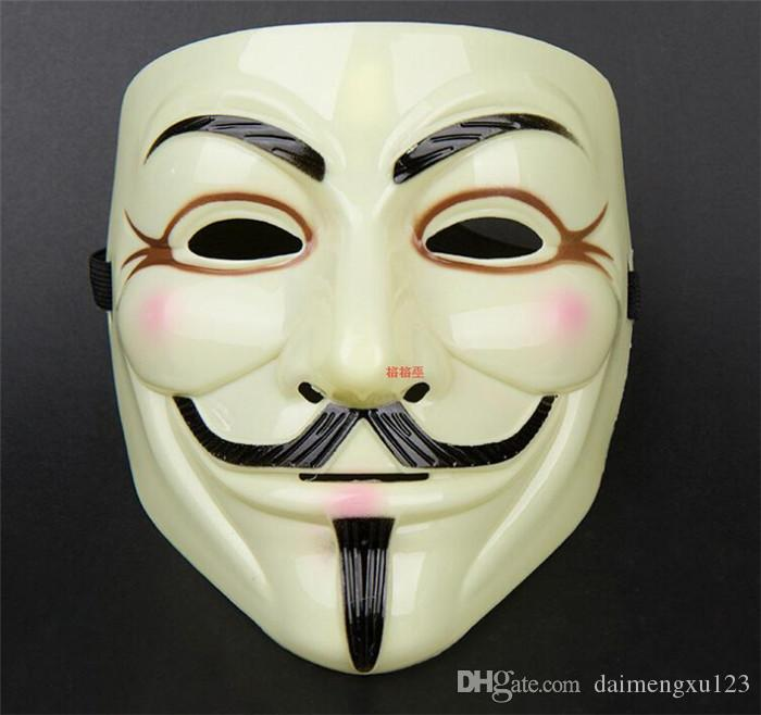 new arrive V for Vendetta Yellow Mask with Eyeliner Nostril Anonymous Guy Fawkes Fancy Adult Costume Halloween Mask D168