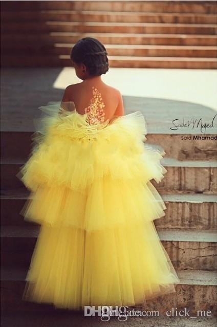 Lovely Yellow Pageant Dress For Girls Tiered Appliques Beads High Low Flower Girl Dress Sheer Neckline Organza Kids Pageant Party Gowns