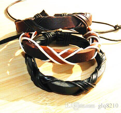 Prawdziwej Skóry Plecione Bransoletki Punk Cross Hemp Lover's Wristband Męskie Handmade New Arrival Women Fashion Cena 12 sztuk