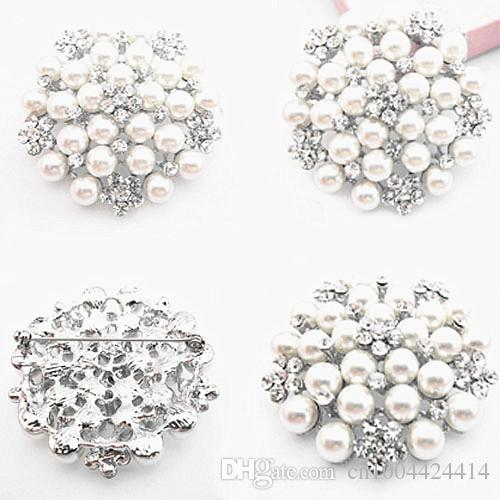 Exquisite Imitation Pearl And Crystals Big Snowflake Wedding Brooch Gold Color And Silver Color Wholesale Cheap Diamante Bridal Bouquet Pins
