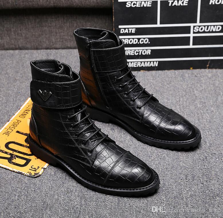 Fashion Trending Crocodile Patent Leather Men Martin Boots Mens Winter Ankle Boots Casual High top Men dress Shoes