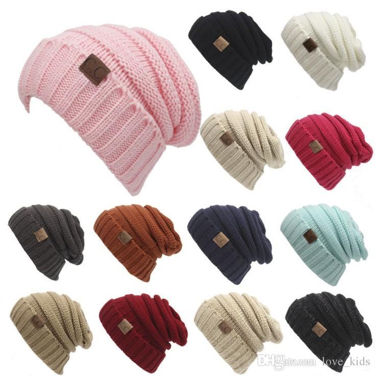 Compre Las Mujeres De Los Hombres Cc Tejen Sombreros De Invierno De ...