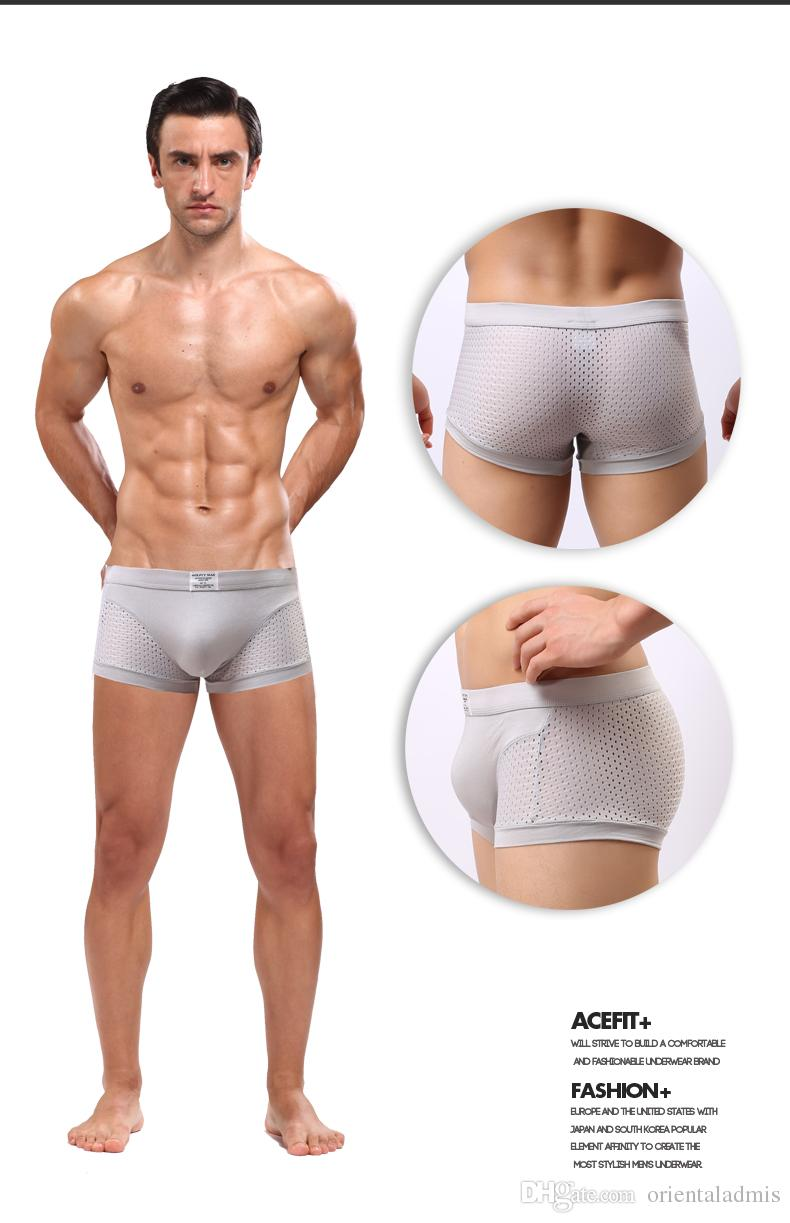 3 stks Acefit Mannen Sexy Ondergoed Lingerie 3D Tassen U CONVEX Design Mesh Perforated Modal Trunk Boxer Shorts Cuecas Boxer # 231