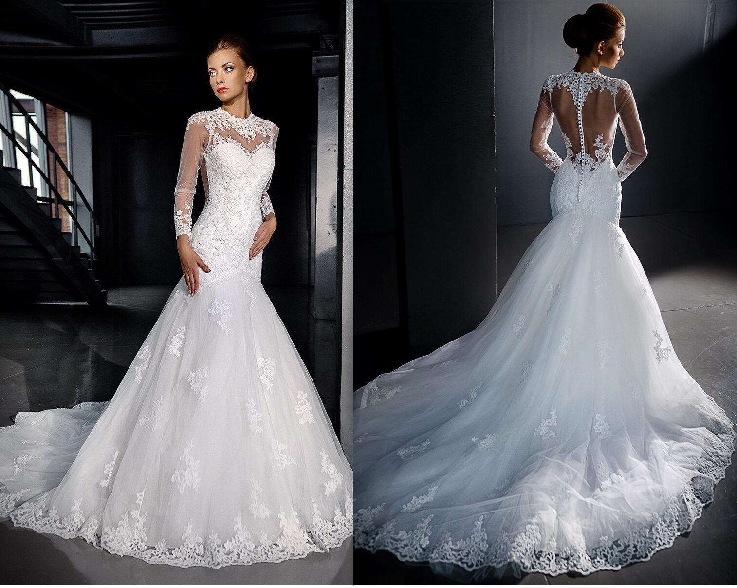 Long Sleeves Lace Wedding Dresses 2016 Mermaid Sexy Backless High
