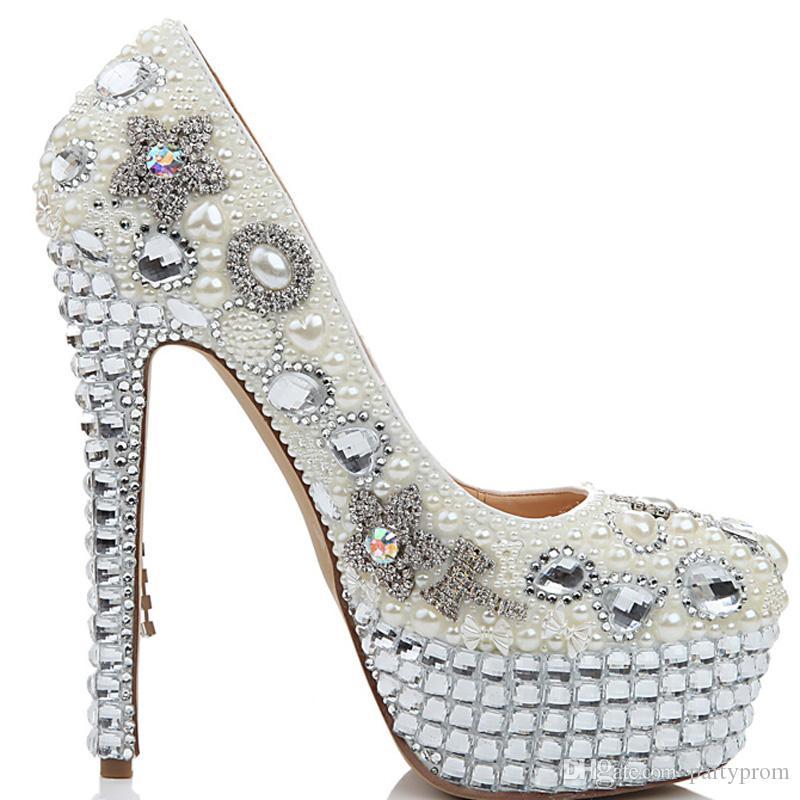 Luxury Women Fashion Wedding Shoes Rhienstone Bow Ultra High Heel Crystal Tassel Shoes Party Prom Pumps