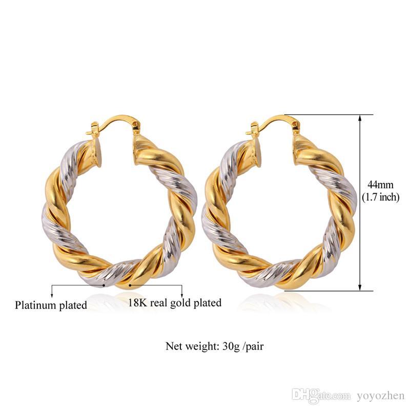 골드 후프 귀걸이 18K 골드 / 플래티넘 도금 두 톤 귀걸이 여자 농구 아내 후프 귀걸이