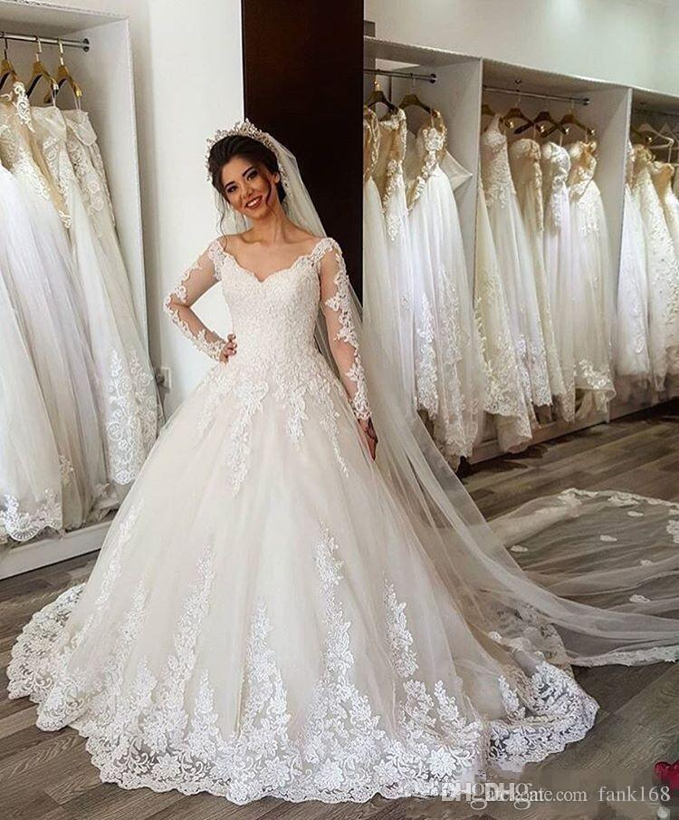 Discount Simple Long Sleeve Wedding Gown 2018 V Neck Ball