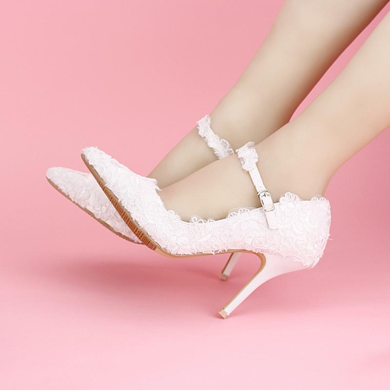 70b7854760 Pink Lace Wedding Shoes Pointed Toes Spring Bridal Shoes Ankle Strap Formal  Dress Shoes Women High Heels Bridesmaid Shoes
