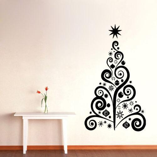 PW213 The New Shop Window Snowman Christmas Tree Christmas Wall Sticker Christmas Decorations For Home Vinyl Carving Sticker