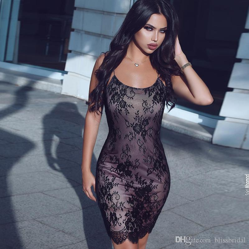 Black Sexy Short Lace Cocktail Dresses Spaghetti Scoop Evening Party Dress Custom Made High Quality Short Column Homecoming Dresses