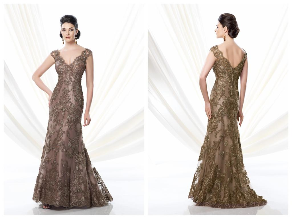 Bronze Mother Of The Bride Dresses 2016 V Neck Lace