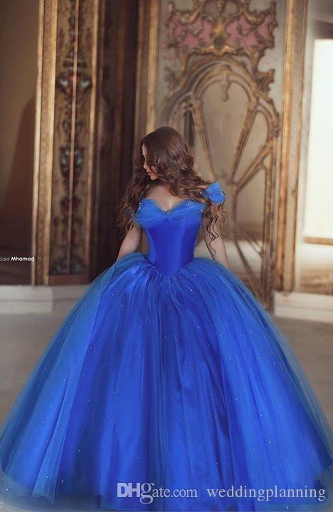 Cinderella Prom Dresses Off Shoulder Pleats Ice Blue Puffy Princess Dresses Evening Wear Tulle Quinceanera Special Ball Gown Evening Gowns