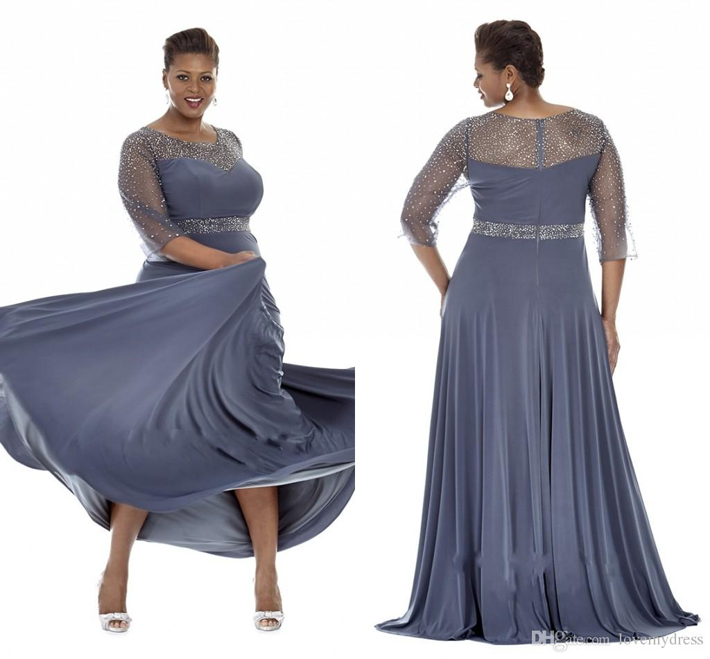 Gray Plus Size Special Occasion Dresses 2019 Sheer Sleeves Evening