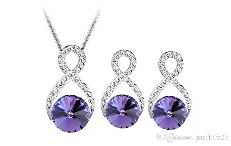 8 Words Hollow Crystal Necklace Earrings Sets Austria High-Grade Zircon Jewelry Sets For Women Best Gift Jewelry 8229