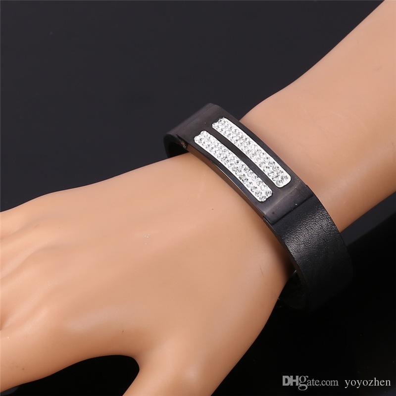 Unisex Casual Style Edelstahl Armband mit Strass für Frauen Männer Tägliche Schwarz Echtes Lederarmband