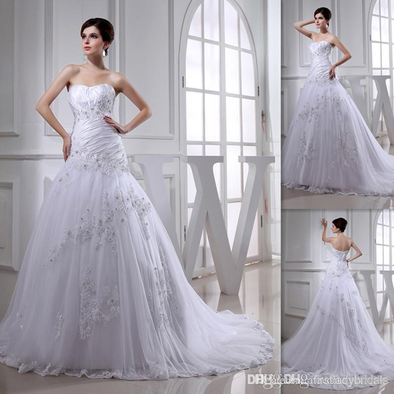 Discount Modest Princess Western Wedding Dresses White Tulle