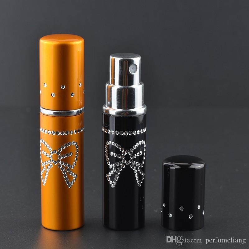 5 ML Mini Recarregáveis Garrafas De Vidro De Alumínio Para Perfume Bling Crystal Bow Vazio Spray Perfumes Atomizador