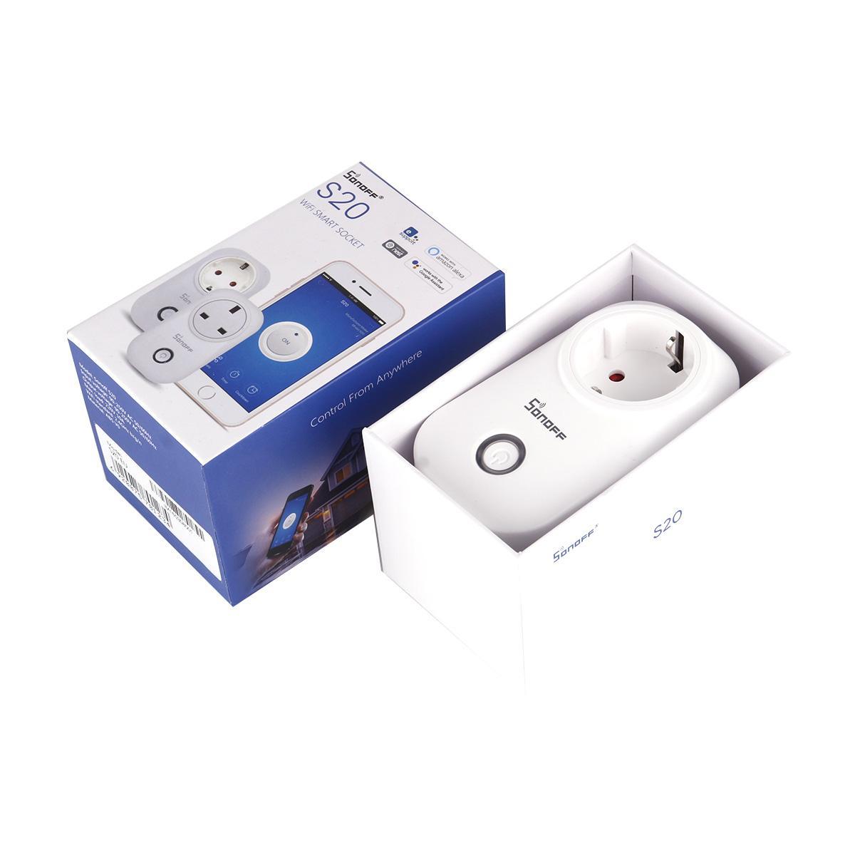 Original Sonoff S20 Smart Wifi Socket Switch REINO UNIDO EE. UU. Enchufe de Control Remoto Socket Outlet Interruptor de sincronización para Smart Home Automation DHL envío