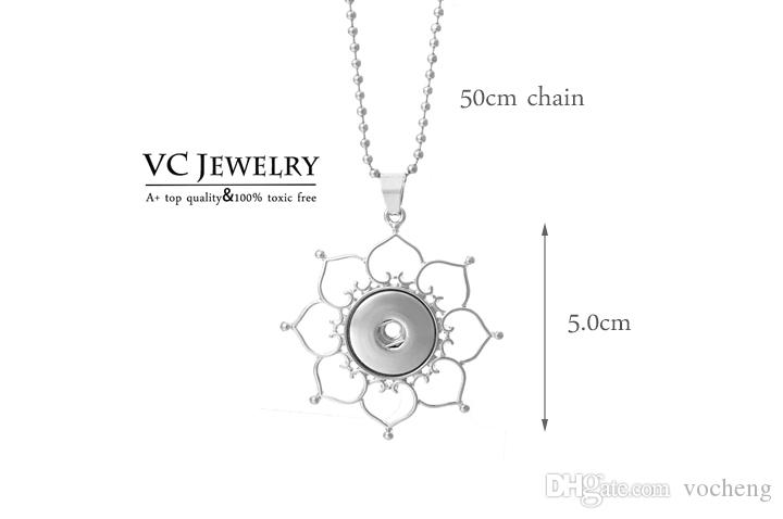 VOCHENG NOOSA قلادة زهرة القلب الزنجبيل مجوهرات مبكرة ل 18 MM زر NN-011