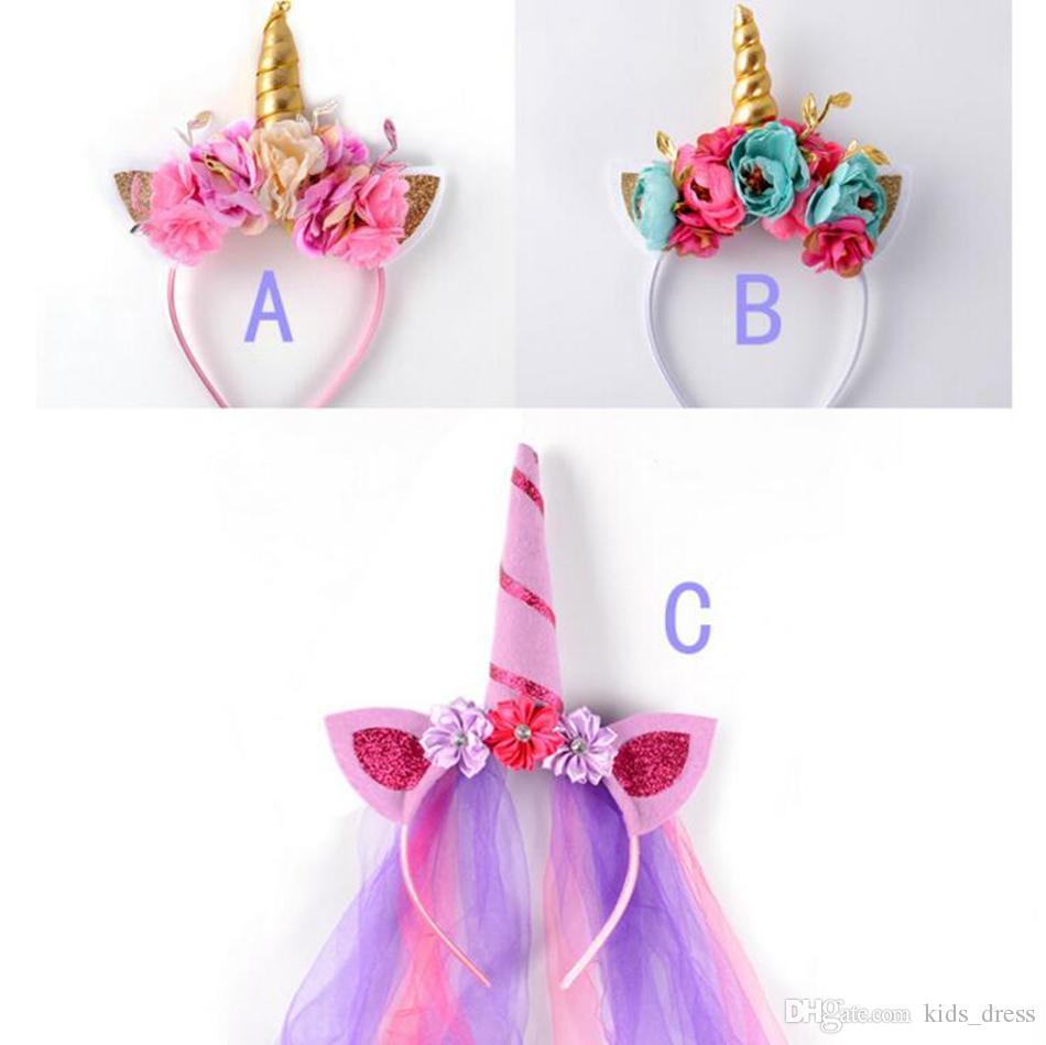 972ca3a5b41 Rainbow Unicorn Rabbit Ear Headband Spiral Unicorn Horn Infant Sequins Hair  Bands Cosplay Party Costume Headwear OOA3400 Leather Hair Accessories  Handmade ...