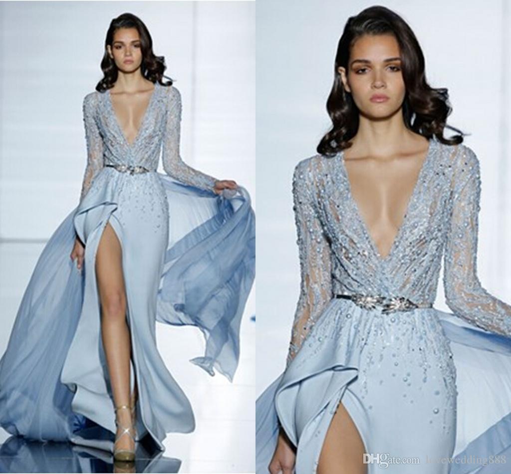 2019 Zuhair Murad New Sexy Sheath Fashion Prom Crystal Custom Made Formal Dresses Evening Dresses Elegant Evening Gowns Long Sleeves