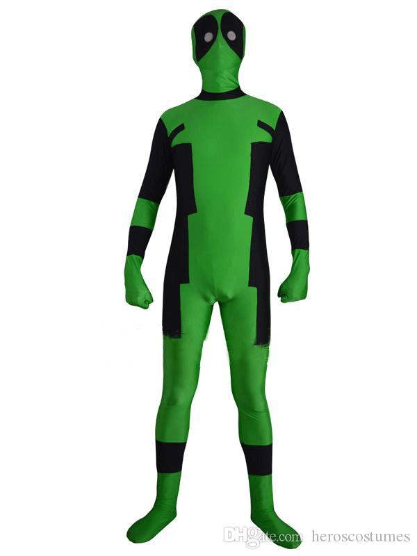 Free Shipping Deadpool Costume Green and Black Spandex Zentai Bodysuit