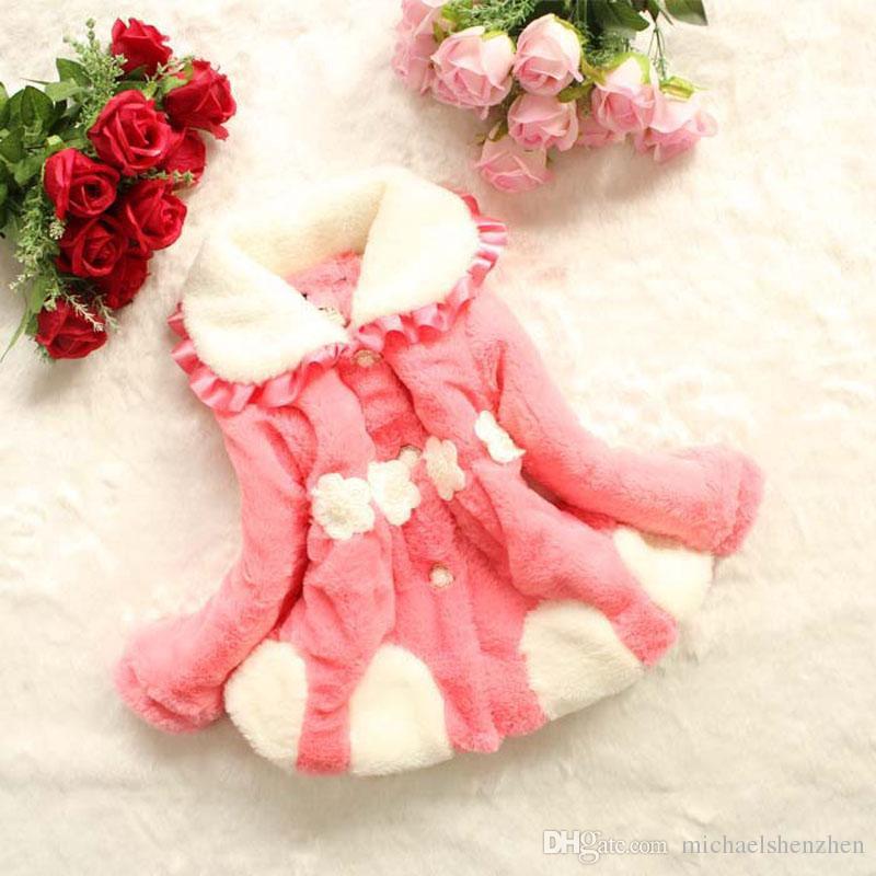 4 Renk Kız moda inci çiçek çanta Dış Giyim 2015 yeni çocuk prenses Uzun kollu Şeker renk moda ceket bebek pamuklu giysiler B001
