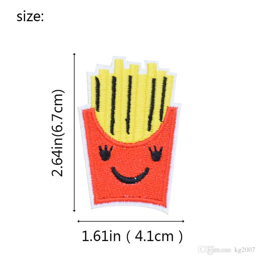 Funny Chips Embroidered Patches for Clothing Bags Iron on Transfer Applique Patch for Garment DIY Sew on Applique Accessories