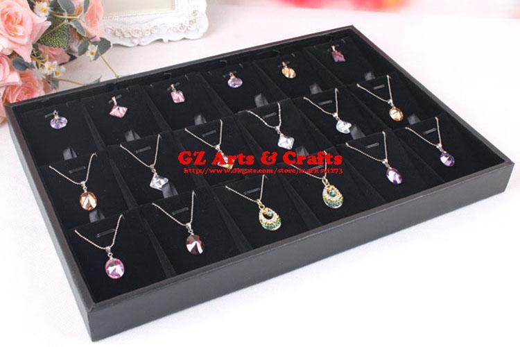 Kwaliteit Zwart Velvet Jade Hanger Ketting Lade Houder Armbanden Ring Box Oorbellen Stud Lade Sieraden Organizer Display Stand Rack Rekwisieten