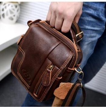 Real Genuine Leather Men'S Messenger Bag Retro Shoulder Small Men ...