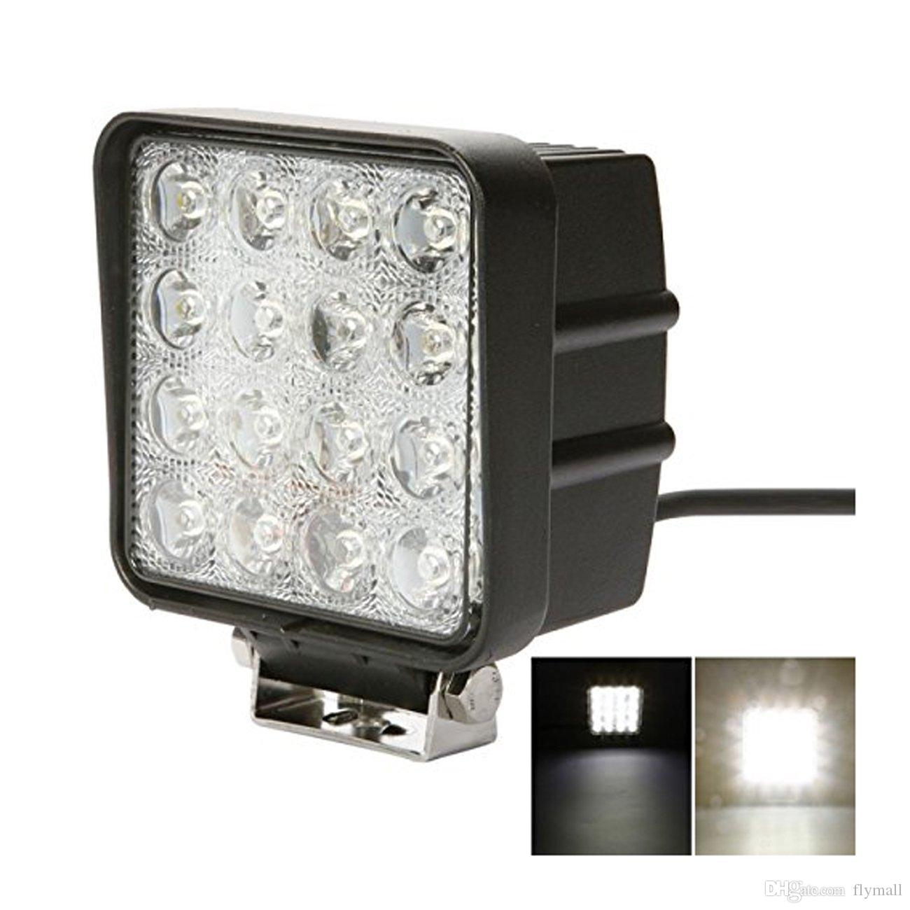 4 pulgada cuadrada 48w llevó la luz del trabajo fuera de las luces de inundación de carreteras luces camiones lámpara de luces de trabajo jeep niebla 4x4 off road tractor Para Jeep Cabañas y / Barco / SUV