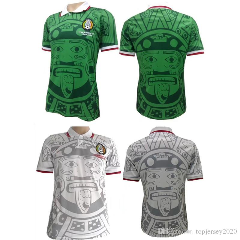 0449cad38 2019 Thailand Quality 1998 Mexico Retro Jerseys Classic Vintage Soccer  Jersey Home Green HERNANDEZ BLANCO 98 Football Shirt Camisa De Futebol From  ...