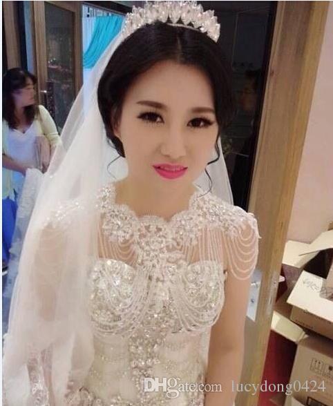 Hochwertige Braut Schulterkette Brautperlen Kristalle Wraps mit Spitze Hochzeit Braut Mode Halskette Bridal Schmuck Strasssteine edel
