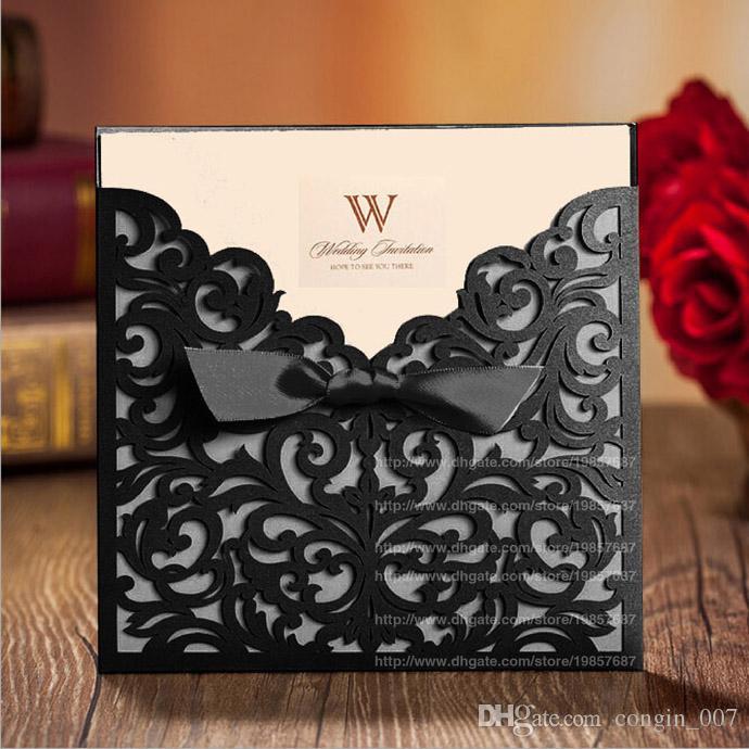 Gold Black White Wedding Invitations Cards Free